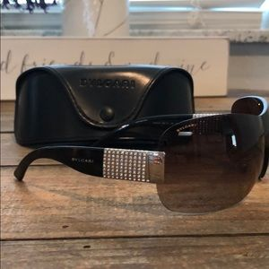 Bulgari frameless sunglasses w/ Swarovski crystal